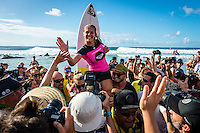 Snapper Rocks, Coolangatta, Queensland Australia. (Tuesday March 11, 2014) Stephanie Gilmore (AUS) won the Roxy Pro with Bianca Buitendag (ZAF) in second.–  The swell  was in the 3'-6' range all day and the Quiksilver Pro was completed right on dark with Gabriel Medina (BRA) defeating local favourite Joel Parkinson (AUS) in the 35 minute final. Photo: joliphotos.com