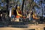 Asia, Nepal, Kathmandu. Sitting Buddhas at entrance to Swayambhunath Stupa.