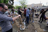 Athens, Greece. Opening days of documenta14.<br /> Syntagma Square. Performance Check Point Prosfygika by Ibrahim Mahama.