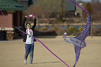 NWA Democrat-Gazette/BEN GOFF @NWABENGOFF<br /> Stella Medlock, 8, of Bentonville tries to get her kite airborne Sunday, Feb. 12, 2017, at Orchards Park in Bentonville. The National Weather Service reported wind gusts of 26 mph at the Rogers Executive Airport - Carter Field weather station on Sunday afternoon.