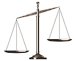 Bronze biased empty justice scales Conceptual photo-realistic 3D illustration Isolated silhouette on white background