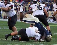 Pitt linebacker Eric Williams sacks Gardner-Webb quarterback Lucas Beatty (8). The Pitt Panthers defeated the Gardner-Webb Runnin Bulldogs 55-10 at Heinz Field, Pittsburgh PA on September 22, 2012..