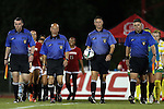 04 September 2015: Assistant Referee Paul Putnam, Fourth Official Larry Williams, Referee Joshua Brooks, and Assistant Referee Matthew Englebert. The North Carolina State University Wolfpack hosted the Oregon University Ducks at Dail Soccer Field in Raleigh, NC in a 2015 NCAA Division I Women's Soccer game. NC State won the game 2-0.