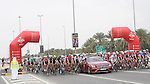 The start of Stage 3 Al Maryah Island Stage of the 2017 Abu Dhabi Tour, starting at Al Ain and running 186km to the mountain top finish at Jebel Hafeet, Abu Dhabi. 25th February 2017<br /> Picture: ANSA/Claudio Peri | Newsfile<br /> <br /> <br /> All photos usage must carry mandatory copyright credit (&copy; Newsfile | ANSA)