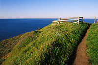 California, Marin County, Muir Beach, GGNRA, Hillside and fence