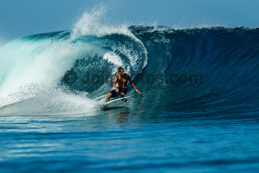 Namotu Island Resort, Fiji. (Sunday, September 8, 2012) - Ian Gentil (HAW) at Cloudbreak. There was virtually no wind this morning with Cloudbreak, Namotu Lefts and Wilkes providing waves in the 4' range.  Photo: joliphotos.com