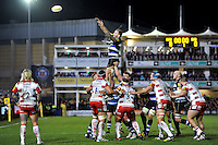 Dominic Day of Bath Rugby rises high to win lineout ball. Aviva Premiership match, between Bath Rugby and Gloucester Rugby on February 5, 2016 at the Recreation Ground in Bath, England. Photo by: Patrick Khachfe / Onside Images