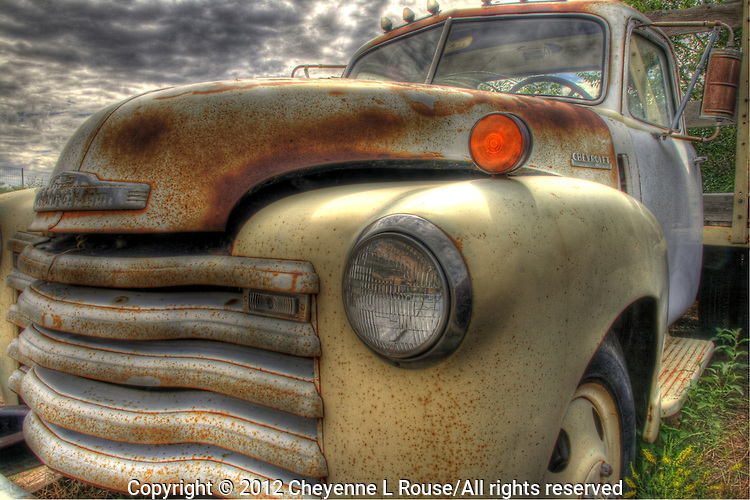 White Chevy Truck on Route 66 in New Mexico