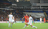 Sam Vokes of Wales and Burnley challenges Ivanovic of Serbia and Chelsea during the Wales v Serbia FIFA World Cup 2014 Qualifier match at Cardiff City Stadium, Cardiff, Wales -Tuesday 10th Sept 2014. All images are the copyright of Jeff Thomas Photography-07837 386244-www.jaypics.photoshelter.com
