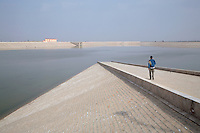 Reservoir supplying water to the city of Bikaner. It is fed by the Indhira Gandhi canal, a massive water project that has been highly controversial because it has only brought water to a few designated areas and to cities like Bikaner, not to smaller farms and villages...