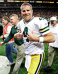 (2007)-Green Bay Packers' Brett Favre walks off the field after beating the Rams 33-14. .The Green Bay Packers traveled to the Edward Jones Dome to play the St. Louis Rams Sunday December 16, 2007. Steve Apps-State Journal.