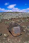 National Historic Landmark plaque at the Mookini Heiau (temple), birthplace of King Kamehameha, The Big Island, Hawaii