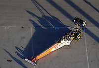 Jan. 21, 2012; Jupiter, FL, USA: Aerial view of the car of NHRA top fuel dragster driver Clay Millican during testing at the PRO Winter Warmup at Palm Beach International Raceway. Mandatory Credit: Mark J. Rebilas-