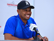 Bethesda, MD - June 22, 2016: PGA golfer Tiger Woods speaks to members of the media during a news conference before the start of the Quicken Loans National Tournament at the Congressional Country Club in Bethesda, MD, June 22, 2016.  (Photo by Don Baxter/Media Images International)