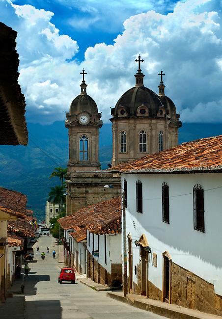 Colombia, Socorro, Cathedral del Nuestra Senora De Socorro, Stone Cupolas, Steep Streets, Andes Mountains, South America