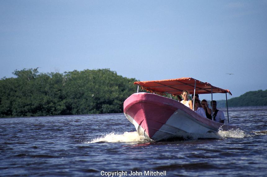Tourist launch in the Ria Celustun, Celestun Biosphere Reserve, Yucatan, Mexico