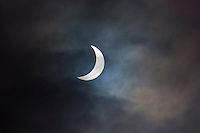 09.45 March 2015 Solar eclipse, partial eclipse of the sun, rare natural phenomenon seen from Burford, The Cotswolds, England UK