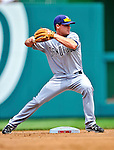 29 May 2011: San Diego Padres infielder Logan Forsythe turns a double play against the Washington Nationals at Nationals Park in Washington, District of Columbia. The Padres defeated the Nationals 5-4 to take the rubber match of their 3-game series. Mandatory Credit: Ed Wolfstein Photo