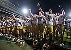 Sept. 14, 2013; The Irish celebrate their 31-24 win at Purdue.<br /> <br /> Photo by Matt Cashore