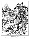 """Earning his Keep. """"If a German can work on my land, why can't he repair my bombed house?"""" (John Bull ponders a German prisoner of war working on a farm)"""