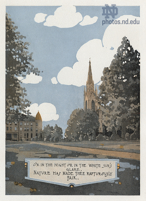 """Dome yearbook 1916, page 14:  Drawing of Main Quad with Sorin Hall and the Basilica of the Sacred Heart exterior.  Caption:  """"Or in the night or in the white sun's glare, nature has made thee rapturously fair.""""  Drawing by Joseph Patrick Flynn.  Poem by Rev. Thomas E. Burke, CSC.  Image from the University of Notre Dame Archives."""