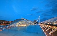Eye of Wisdom , The Hemisphere, at dusk, City of Arts and Sciences ; 1998 ; Santiago Calatrava (Valencia, Spain, 1951) ; Valencia, Comunidad Valenciana, Spain ; First area of the City of Arts and Sciences covering 14,000 square meters. Picture by Manuel Cohen