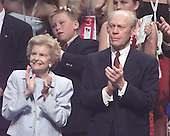 Former United States President Gerald R. Ford and former first lady Betty Ford at the 2000 Republican National Convention in Philadelphia, Pennsylvania on August 2, 2000.<br /> Credit: Ron Sachs /  CNP