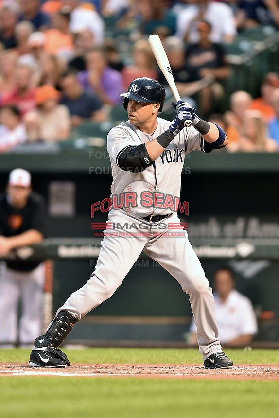 New York Yankees designated hitter Carlos Beltran #36 awaits a pitch during a game against the Baltimore Orioles at Oriole Park at Camden Yards August 11, 2014 in Baltimore, Maryland. The Orioles defeated the Yankees 11-3. (Tony Farlow/Four Seam Images)