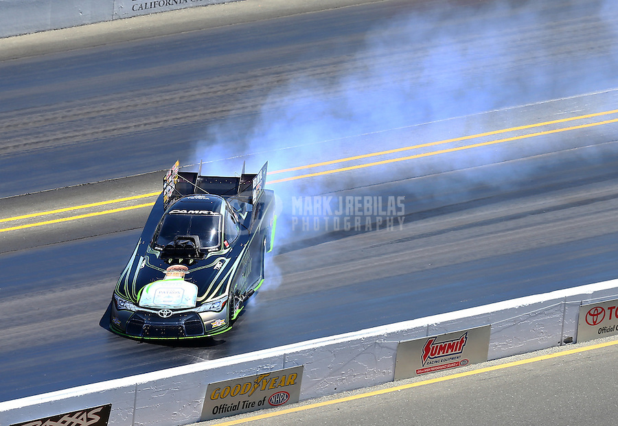 Jul 31, 2016; Sonoma, CA, USA; NHRA funny car driver Alexis DeJoria loses control and hits the wall during the Sonoma Nationals at Sonoma Raceway. DeJoria was uninjured in the crash. Mandatory Credit: Mark J. Rebilas-USA TODAY Sports