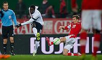 VIENNA, Austria - November 19, 2013: Eddie Johnson and Austria's Florian Klein during a 0-1 loss to host Austria during the international friendly match between Austria and the USA at Ernst-Happel-Stadium.