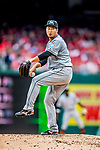 3 April 2017: Miami Marlins pitcher Junichi Tazawa on the mound against the Washington Nationals on Opening Day at Nationals Park in Washington, DC. The Nationals defeated the Marlins 4-2 to open the 2017 MLB Season. Mandatory Credit: Ed Wolfstein Photo *** RAW (NEF) Image File Available ***