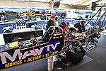 Jan. 17, 2012; Jupiter, FL, USA: Crew members work on the car of NHRA top fuel dragster driver Brandon Bernstein during testing at the PRO Winter Warmup at Palm Beach International Raceway. Mandatory Credit: Mark J. Rebilas-