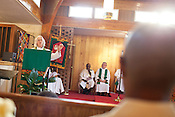 Rev. Roxane Gwyn delivers a sermon at St. Titus' Episcopal Church in Durham, N.C., during the celebration of Pauli Murray on the occasion of being named a episcopal saint, Wednesday, July 18, 2012. .The Rev. Dr. Pauli Murray (1910 - 1985) was the first African American woman to be ordained a priest in the Episcopal Church.  In addition, she was a published author/poet, a lawyer and a human rights advocate who fought for racial, gender and educational equality and stood for the rights of gay and lesbian people.