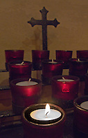 Church candles with cross