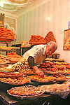 North Africa, Africa, Morocco, Marrakesh. Dried fruits and nuts vendor of the Djeema el Fna in Marrakesh