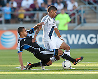 Stanford, California - Saturday June 30, 2012: Sean Franklin and Jason Hernandez fighting for the ball during a game at Stanford Stadium, Stanford, Ca.San Jose Earthquakes defeated Los Angeles Galaxy,  4 to 3