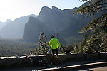 Bicyclist at tunnel view in Yosemite Valley