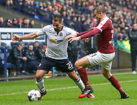 Bolton Wanderers' Filipe Morais vies for possession with Northampton Town's Matthew Taylor<br /> <br /> Photographer Alex Dodd/CameraSport<br /> <br /> The EFL Sky Bet League One - Bolton Wanderers v Northampton Town - Saturday 18th March 2017 - Macron Stadium - Bolton<br /> <br /> World Copyright &copy; 2017 CameraSport. All rights reserved. 43 Linden Ave. Countesthorpe. Leicester. England. LE8 5PG - Tel: +44 (0) 116 277 4147 - admin@camerasport.com - www.camerasport.com