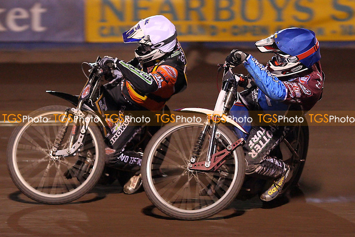 Heat 14: Joe Screen (white) and Paul Hurry (blue) - Lakeside Hammers vs Wolverhampton Wolves, Elite Shield Speedway at the Arena Essex Raceway, Purfleet - 26/03/10 - MANDATORY CREDIT: Rob Newell/TGSPHOTO - Self billing applies where appropriate - 0845 094 6026 - contact@tgsphoto.co.uk - NO UNPAID USE.