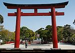 Torii Gate Three, Entrance, Tsurugaoka Hachimangu Shrine, Kamakura, Japan