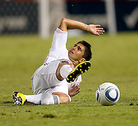 DC United forward Jaime Moreno slides for a loose ball. CD Chivas USA beat DC United 1-0 at Home Depot Center stadium in Carson, California on Sunday August 29, 2010.
