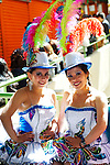 Dancers in tradtional Spanish/Bolivian dresses and hats for Independence Day festivities in La Paz, Bolivia.