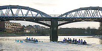 Putney, London.  Pre Varsity Boat race fixture. Cambridge continue to move ahead of GB U23, as they approach Barnes Bridge, Cambridge UBC. [Blue Boat] vs GBR U23 crew raced over parts of the Championship Course, [Putney to Mortlake].  Race divided into two trials. 1. Start to Hammersmith Pier. 2. Chiswick Eyot to Finish. River Thames. Saturday   26/02/2011 [Mandatory Credit -Karon Phillips/Intersport Images]..Crews:.CAMBRIDGE [Blue Boat] Bow,  Mike THORP, Joel JENNINGS,  Dan RIX-STANDING,  Hardy CUBASCH,  George NASH,  Geoff ROTH , Derek RASMUSSEN, Stroke David NELSON and Cox Tom FIELDMAN..GB Under-23s Bow, Oliver STAITE, Jack CADMAN,  Alex TORBICA, Alex DAVIDSON, Matt TARRANT, Ertan HAZINE,  Mason DURANT,  Stroke Scott DURANT and Cox Max GANDER ...