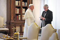 Vatican press spokesman Father Federico Lombardi Pope Francis meets Bosnian Prime Minister Vjekoslav Bevanda during a private audience at the Vatican, on November 22, 2013.