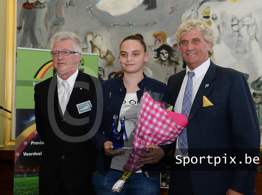 20150529 – OOSTENDE , BELGIUM : Jean-Marie Pfaff (right) pictured with AA Gent's Nicky Evrard (middle) and Rudy Benthein (left) during  the 1st edition of the Sparkle  award ceremony , Friday 29 May 2015, in Oostende . The Sparkle  is an award for the best female soccer player during the season 2014-2015 comparable to the Golden Shoe / Gouden Schoen / Soulier D'or for Men . PHOTO DAVID CATRY