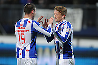 VOETBAL: HEERENVEEN: Abe Lenstra Stadion, 07-02-2015, Eredivisie, sc Heerenveen - PEC Zwolle, Eindstand: 4-0, Mark Uth (#19), Sam Larsson (#11), ©foto Martin de Jong
