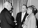 Supreme Court Chief Justice Warren Burger FBI Director J Edgar Hoover and Martha Mitchell wife of Attorney General John Mitchell talk,