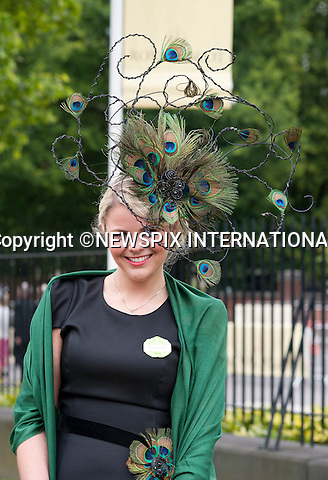 """ROYAL ASCOT 2011 DAY 2..Hats.  Royal Ascot_14/06/2011..Mandatory Photo Credit: ©Dias/Newspix International..**ALL FEES PAYABLE TO: """"NEWSPIX INTERNATIONAL""""**..PHOTO CREDIT MANDATORY!!: NEWSPIX INTERNATIONAL(Failure to credit will incur a surcharge of 100% of reproduction fees)..IMMEDIATE CONFIRMATION OF USAGE REQUIRED:.Newspix International, 31 Chinnery Hill, Bishop's Stortford, ENGLAND CM23 3PS.Tel:+441279 324672  ; Fax: +441279656877.Mobile:  0777568 1153.e-mail: info@newspixinternational.co.uk"""