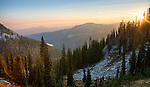 Idaho, North Central, Riggins, Nez Perce National Forest. Sunrise view of the Gospel Hump Wilderness area in autumn.