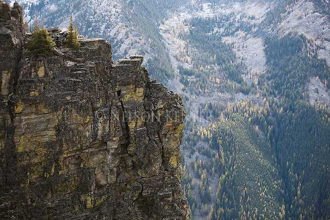 Rocky cliff at Bear Creek Overlook in the Bitterroot Mountains of western Montana